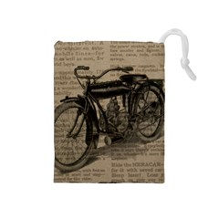 Vintage Collage Motorcycle Indian Drawstring Pouches (medium)