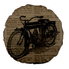 Vintage Collage Motorcycle Indian Large 18  Premium Flano Round Cushions
