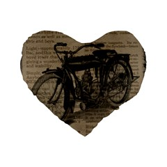 Vintage Collage Motorcycle Indian Standard 16  Premium Flano Heart Shape Cushions