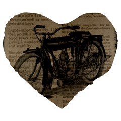 Vintage Collage Motorcycle Indian Large 19  Premium Flano Heart Shape Cushions