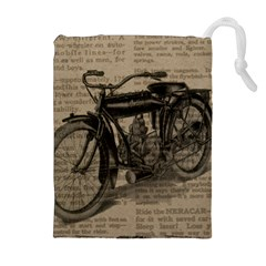 Vintage Collage Motorcycle Indian Drawstring Pouches (extra Large)