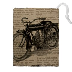Vintage Collage Motorcycle Indian Drawstring Pouches (xxl)