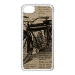 Vintage Collage Motorcycle Indian Apple Iphone 7 Seamless Case (white)