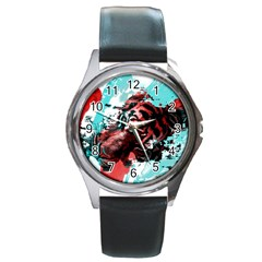 Wallpaper Background Watercolors Round Metal Watch