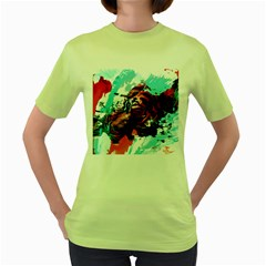 Wallpaper Background Watercolors Women s Green T Shirt