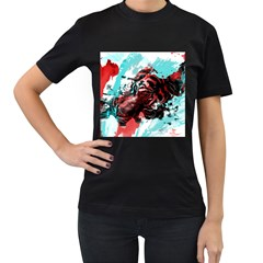 Wallpaper Background Watercolors Women s T Shirt (black) (two Sided)