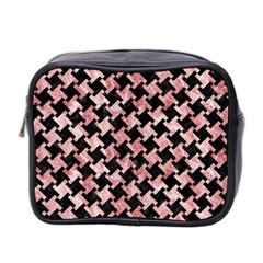 Houndstooth2 Black Marble & Red & White Marble Mini Toiletries Bag (two Sides)