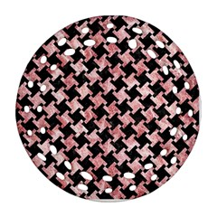 Houndstooth2 Black Marble & Red & White Marble Ornament (round Filigree)