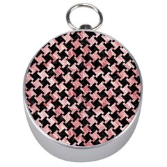 Houndstooth2 Black Marble & Red & White Marble Silver Compass