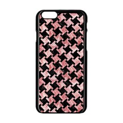 Houndstooth2 Black Marble & Red & White Marble Apple Iphone 6/6s Black Enamel Case