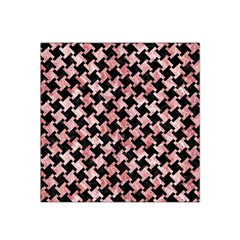 Houndstooth2 Black Marble & Red & White Marble Satin Bandana Scarf