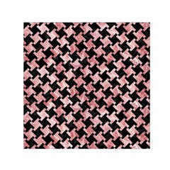 Houndstooth2 Black Marble & Red & White Marble Small Satin Scarf (square)