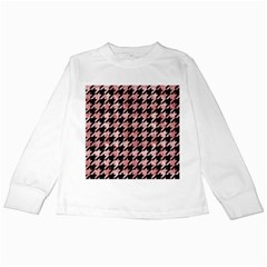 Houndstooth1 Black Marble & Red & White Marble Kids Long Sleeve T Shirt