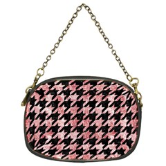 Houndstooth1 Black Marble & Red & White Marble Chain Purse (two Sides)