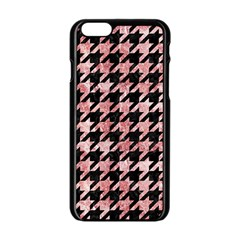 Houndstooth1 Black Marble & Red & White Marble Apple Iphone 6/6s Black Enamel Case
