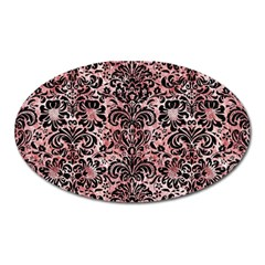 Damask2 Black Marble & Red & White Marble (r) Magnet (oval)