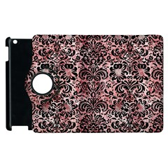 Damask2 Black Marble & Red & White Marble (r) Apple Ipad 2 Flip 360 Case