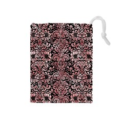 Damask2 Black Marble & Red & White Marble Drawstring Pouch (medium)