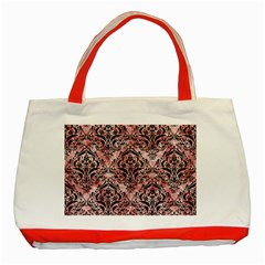 Damask1 Black Marble & Red & White Marble (r) Classic Tote Bag (red)