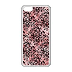 Damask1 Black Marble & Red & White Marble (r) Apple Iphone 5c Seamless Case (white)