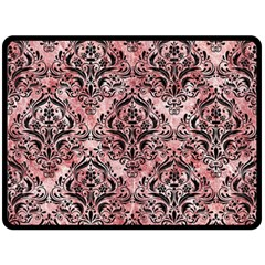 Damask1 Black Marble & Red & White Marble (r) Double Sided Fleece Blanket (large)