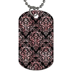 Damask1 Black Marble & Red & White Marble Dog Tag (one Side)