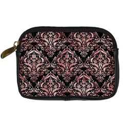 Damask1 Black Marble & Red & White Marble Digital Camera Leather Case