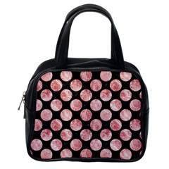 Circles2 Black Marble & Red & White Marble Classic Handbag (one Side)