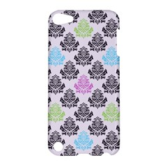 Damask Small Flower Purple Green Blue Black Floral Apple Ipod Touch 5 Hardshell Case