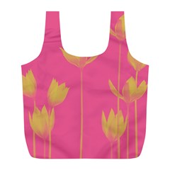 Flower Yellow Pink Full Print Recycle Bags (l)