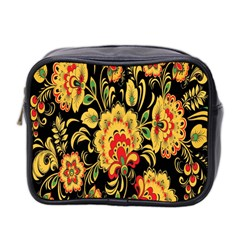 Flower Yellow Green Red Mini Toiletries Bag 2 Side