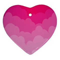 Lines Pink Cloud Heart Ornament (2 Sides)