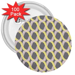 Hearts And Yellow Washi Zigzags Tileable 3  Buttons (100 Pack)