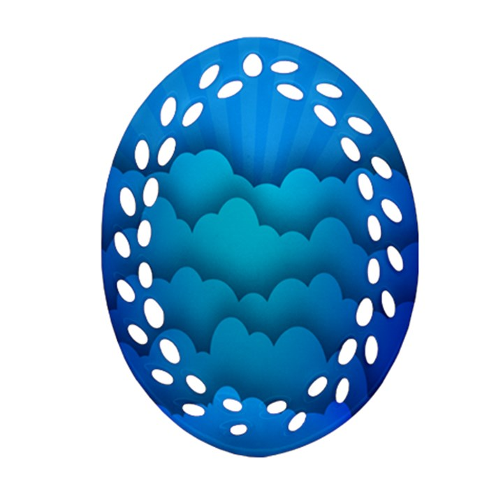 Blue Sky Jpeg Oval Filigree Ornament (2-Side)