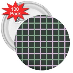 Pink And Green Tiles On Dark Green 3  Buttons (100 Pack)
