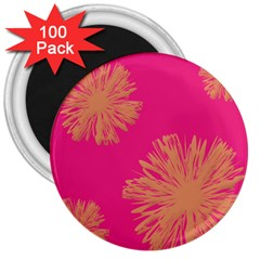 Yellow Flowers On Pink Background Pink 3  Magnets (100 Pack)