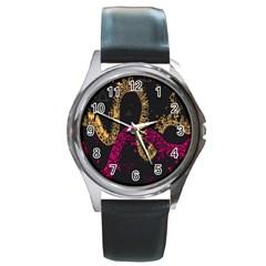 Abstraction Pink Orange Black Round Metal Watch