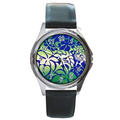 Batik Fabric Flower Round Metal Watch