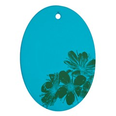 Blue Flower Ornament (oval)
