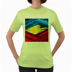 Blue Red Yellow Colors Women s Green T Shirt