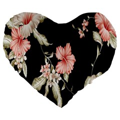 Buds Petals Dark Flower Pink Large 19  Premium Flano Heart Shape Cushions