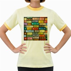 Colored Suitcases Women s Fitted Ringer T Shirts