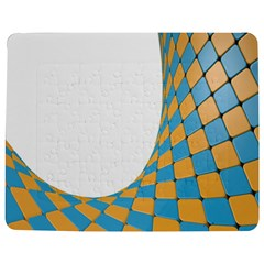 Curve Blue Yellow Jigsaw Puzzle Photo Stand (rectangular)