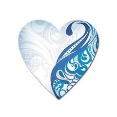Delicate Flower Blue Heart Magnet