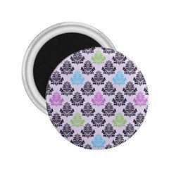 Damask Small Flower Purple Green Blue Black Floral 2 25  Magnets