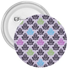 Damask Small Flower Purple Green Blue Black Floral 3  Buttons