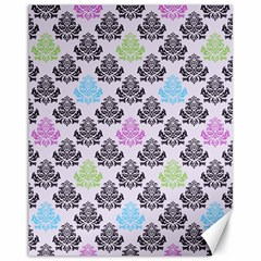 Damask Small Flower Purple Green Blue Black Floral Canvas 11  X 14