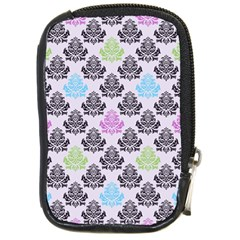 Damask Small Flower Purple Green Blue Black Floral Compact Camera Cases