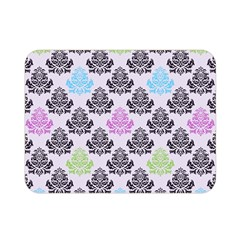 Damask Small Flower Purple Green Blue Black Floral Double Sided Flano Blanket (mini)