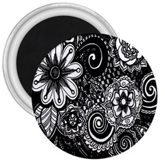 Black White Flower 3  Magnets
